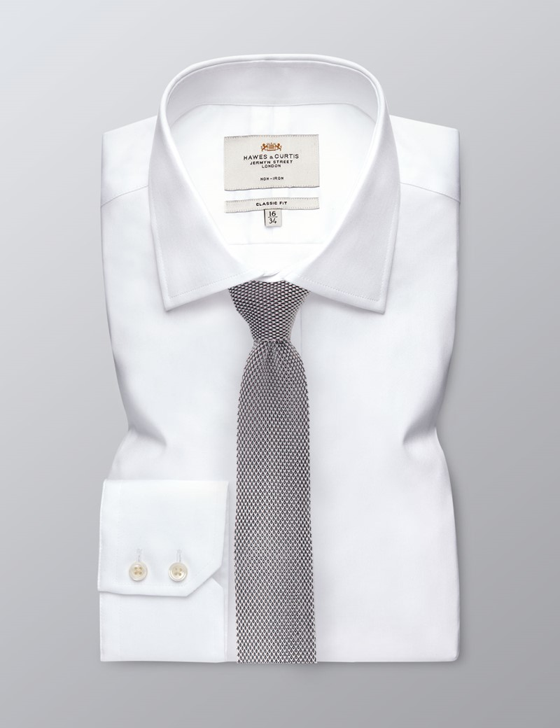 Men's Pastel Gray Knitted Tie - 100% Silk