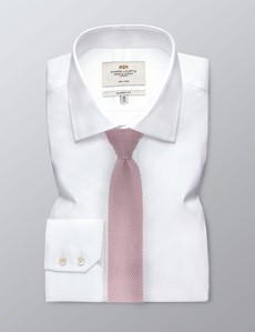 Men's Pastel Pink Knitted Tie - 100% Silk