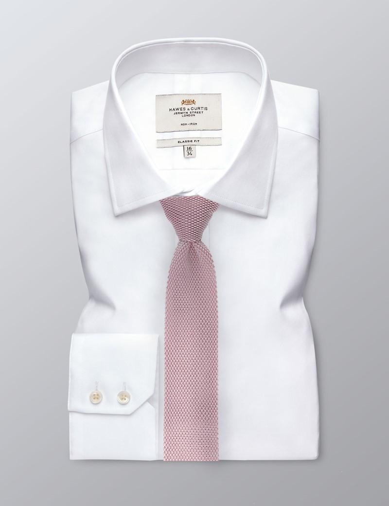 Men's Pastel Pink Knitted Tie - 100% Silk