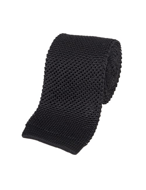 Men's Plain Black Silk Knitted Tie