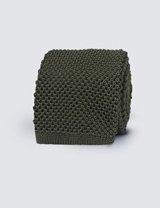 Men's Green Knitted Tie - 100% Silk