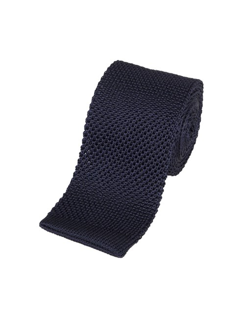 Men's Plain Navy Silk Knitted Tie