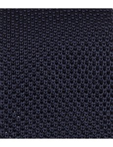 Men's Navy Knitted Tie - 100% Silk