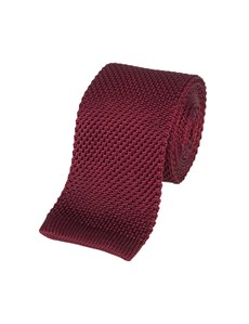 Men's Wine Knitted Tie - 100% Silk