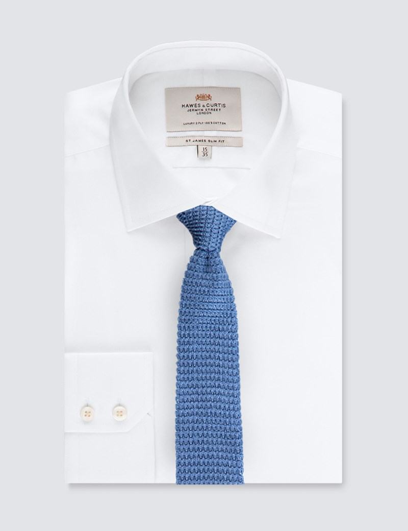 Men's Light Blue Knitted Tie - 100% Silk