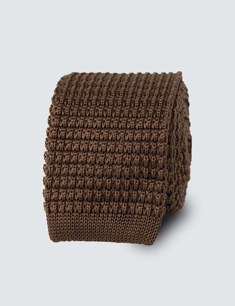Men's Brown Knitted Tie - 100% Silk