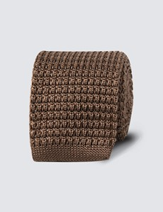 Men's Camel Knitted Tie - 100% Silk