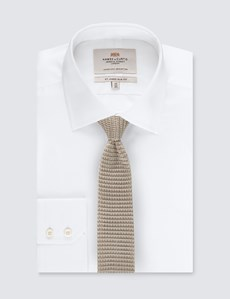 Men's Cream Knitted Tie - 100% Silk