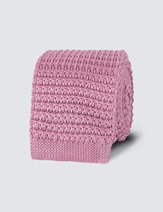 Men's Light Pink Knitted Tie - 100% Silk