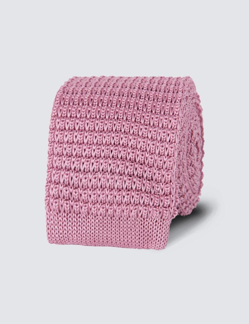 Schmale Strickkrawatte - Seide - Pink