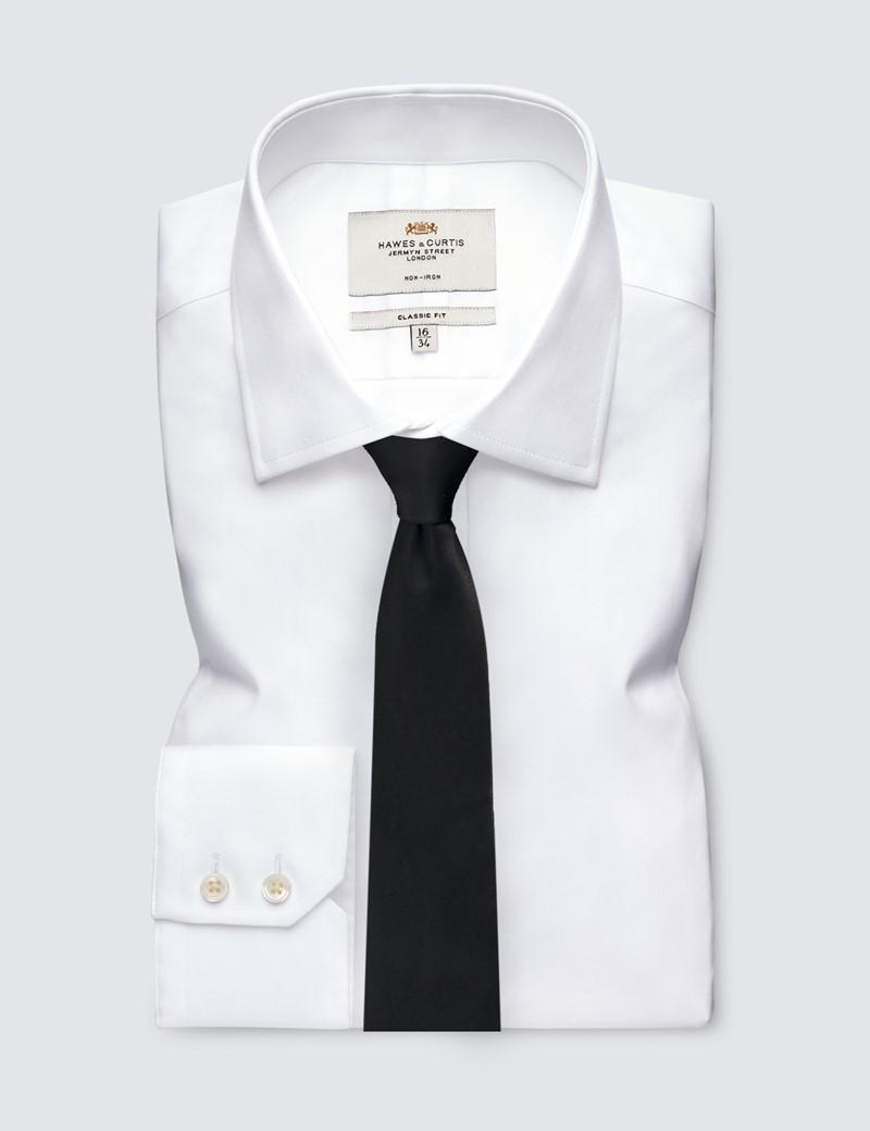 Men's Black Plain Slim Tie - 100% Silk