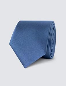 Men's Plain Blue Slim Tie - 100% Silk