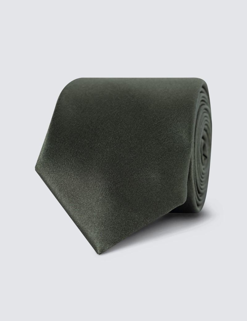 Men's Plain Green Slim Tie - 100% Silk