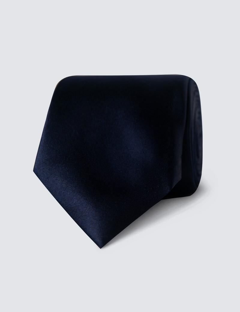 Men's 100% Silk Plain Navy Slim Tie