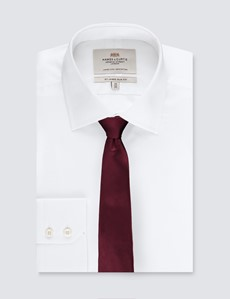 Men's Plain Wine Slim Tie - 100% Silk