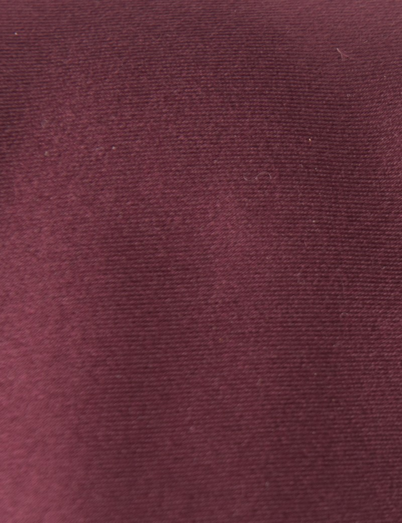 Men's Plain Wine Slim Tie - 100% Silk