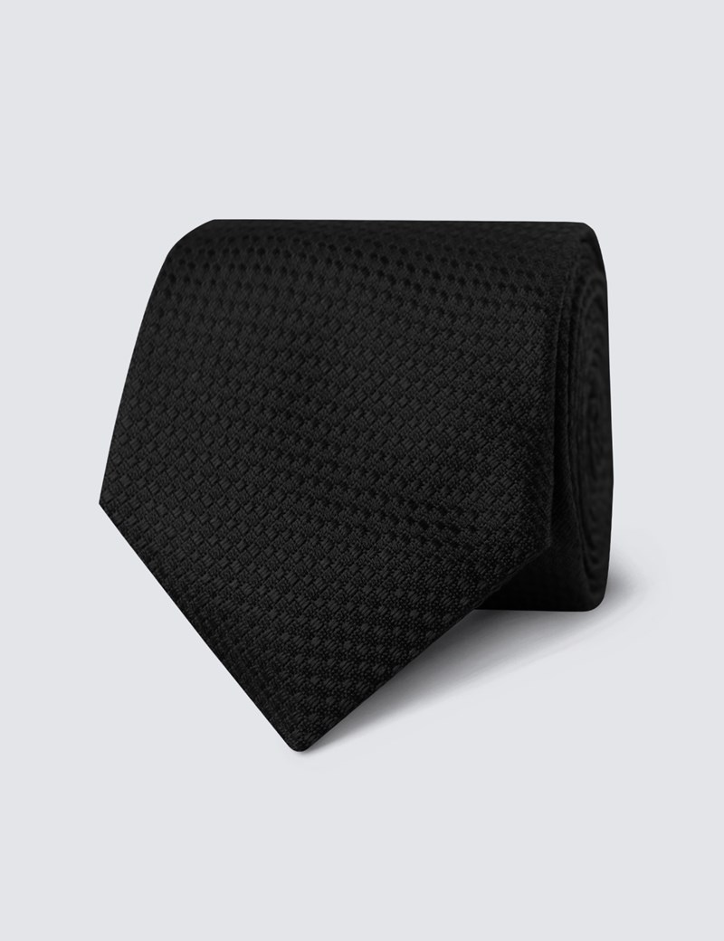 Men's Black Textured Plain Tie - 100% Silk