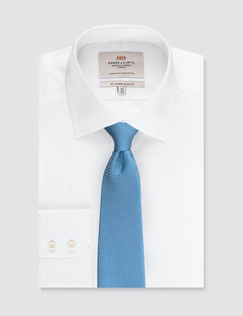 Krawatte – Seide – Standardbreite – Korbgitter hellblau