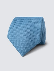 Men's Light Blue Textured Plain Tie - 100% Silk