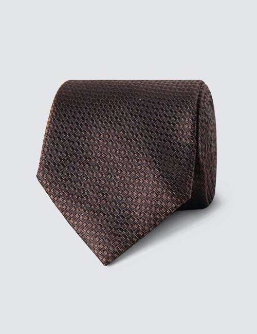 Men's Brown Textured Tie - 100% Silk
