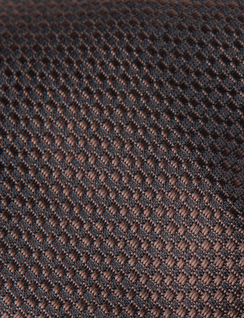 Men's Brown Textured Tie - 100% Silk