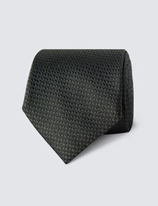Men's Green Textured Tie - 100% Silk