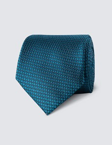 Men's Teal Textured Plain Tie - 100% Silk