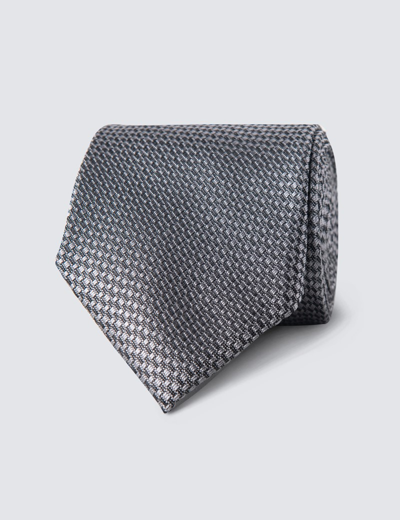 Men's Grey Textured Plain Tie - 100% Silk