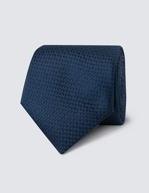 Men's Navy Textured Plain Tie - 100% Silk