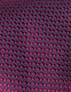 Men's Magenta Textured Plain Tie - 100% Silk