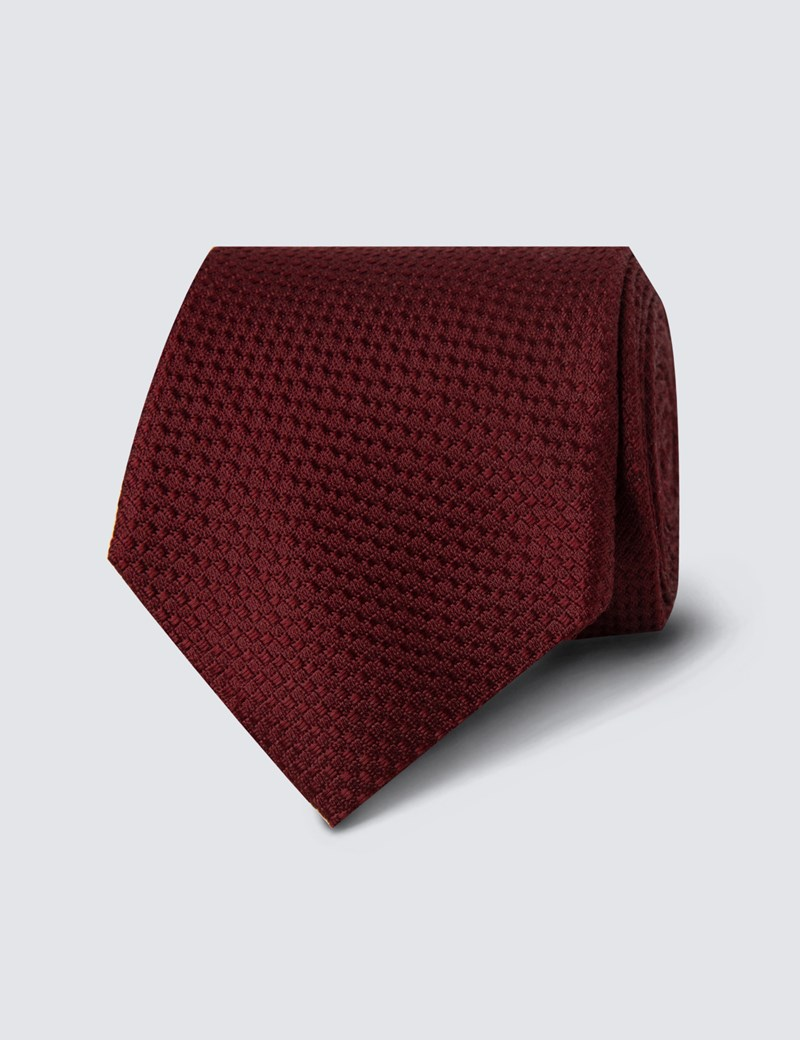 Men's Burgundy Textured Plain Tie - 100% Silk