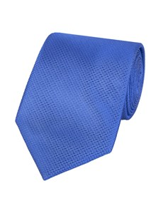 Men's Blue Cornflower Basket Weave 100% Silk Tie