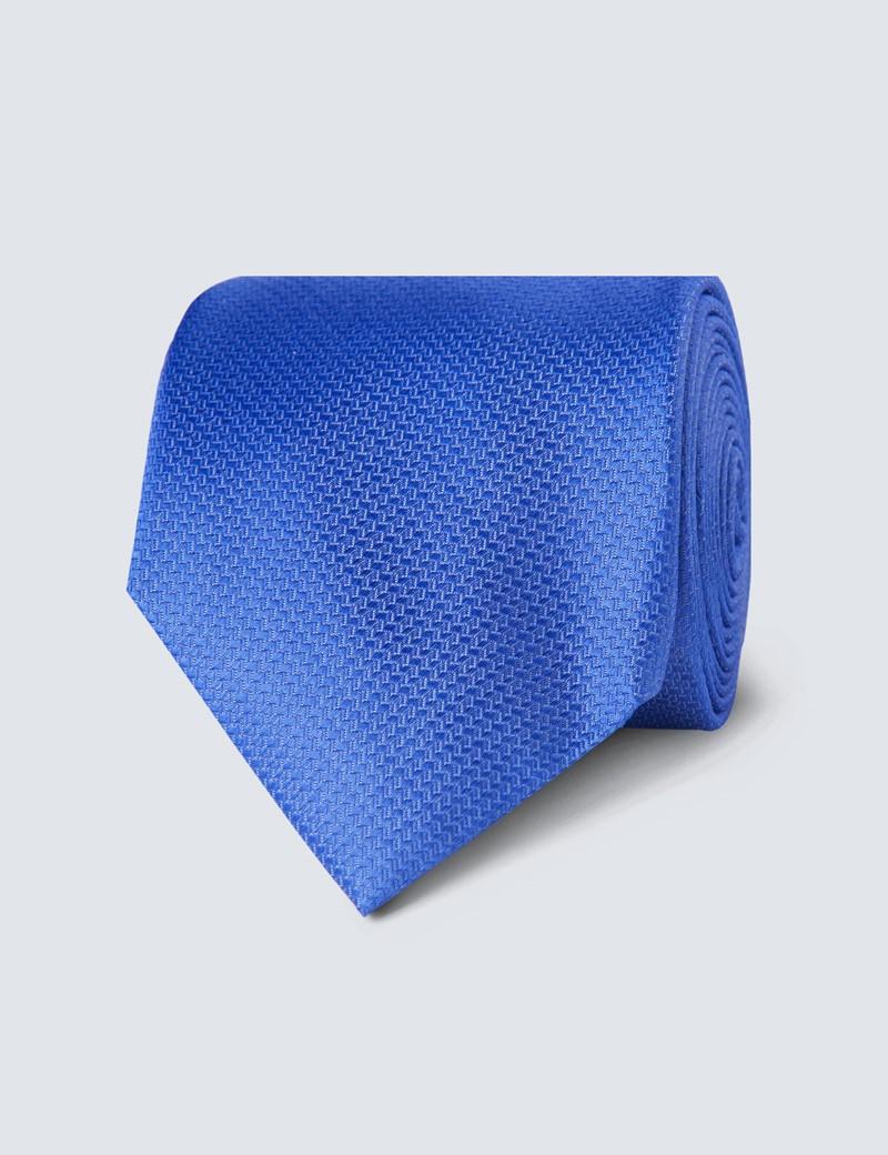Men's Blue Cornflower Basket Weave 100% Silk Tie