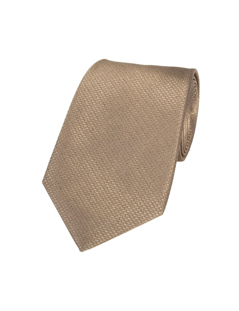 Men's Mocha Basket Weave 100% Silk Tie