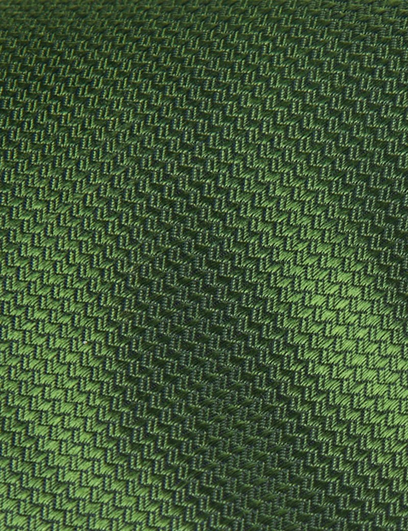 Men's Plain Green Basket Weave 100% Silk Tie