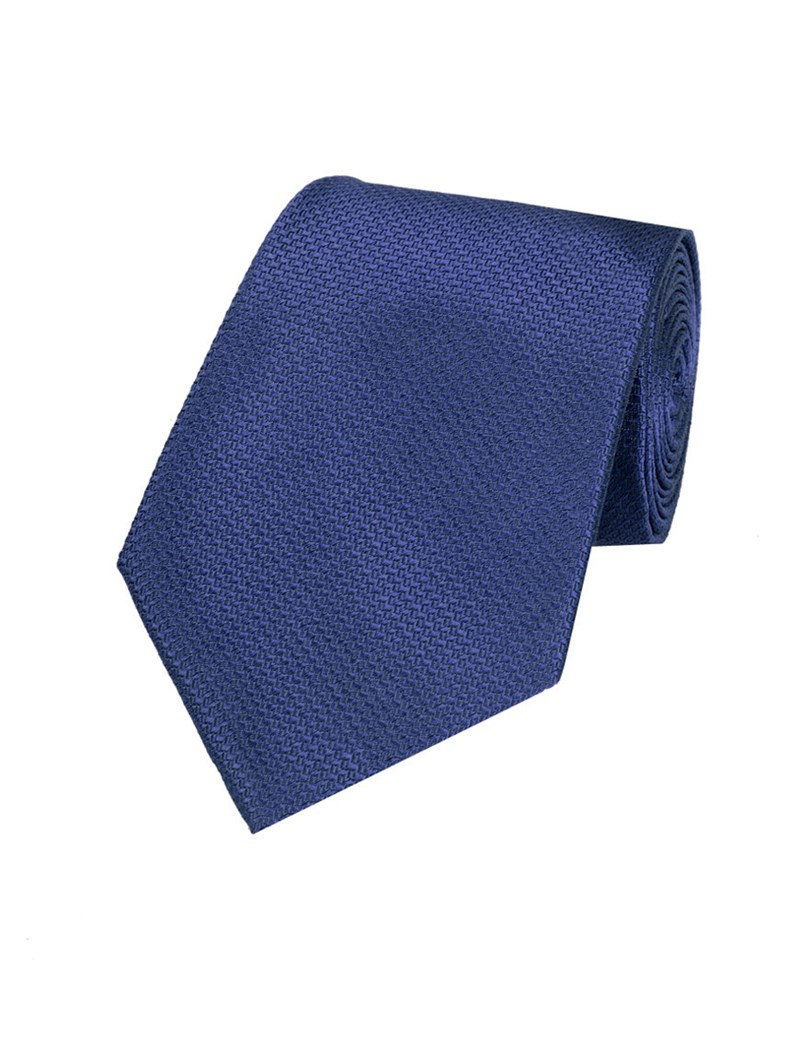 Men's Plain Navy Basket Weave 100% Silk Tie