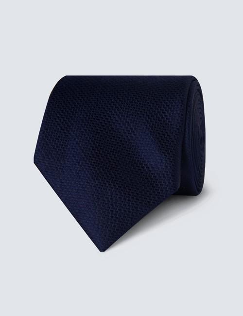 Men's Plain Navy Basket Weave 100% Silk Tie