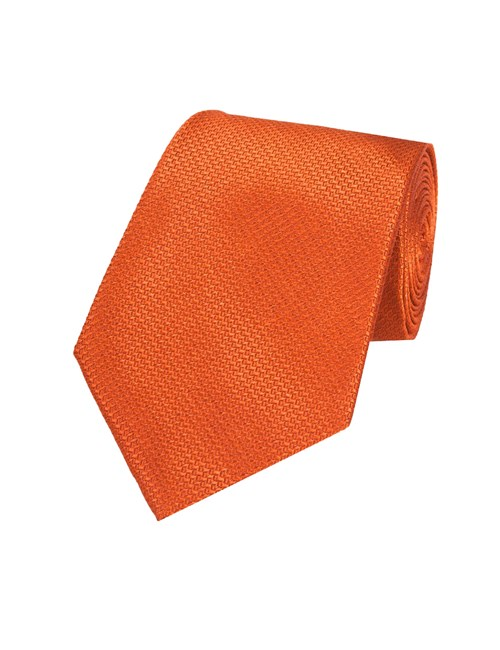 Men's Plain Rust Basket Weave 100% Silk Tie