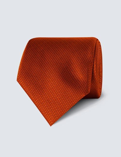 Men's Rust Basket Weave 100% Silk Tie