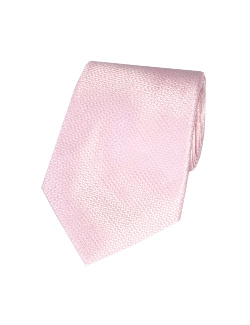 Men's Plain Pink Basket Weave 100% Silk Tie
