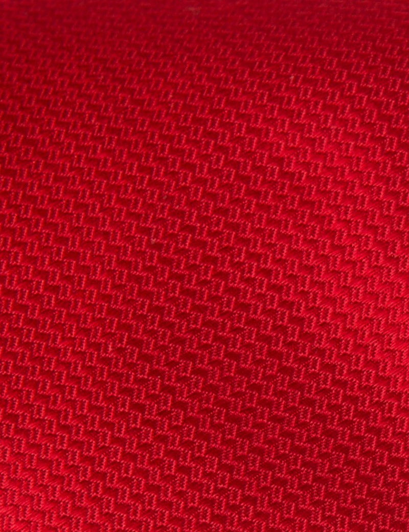 Men's Plain Red Basket Weave 100% Silk Tie