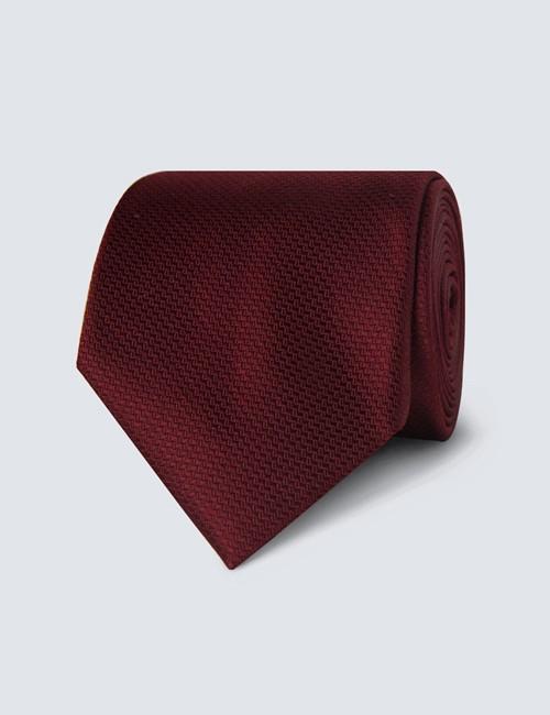 Men's Wine Basket Weave 100% Silk Tie