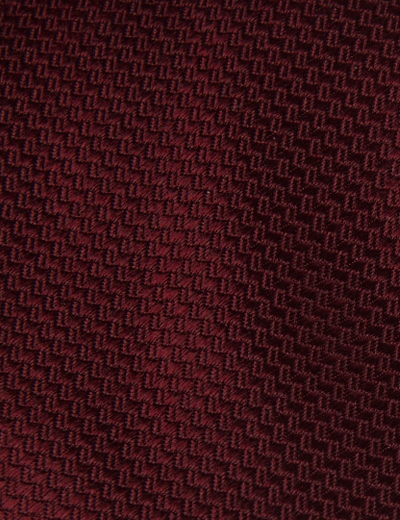 Men's Wine Basket Weave 100% Silk Tie