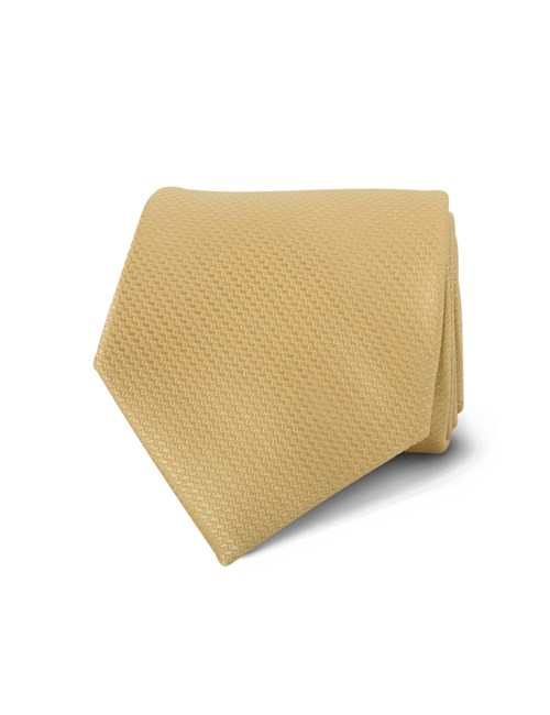 Men's Yellow Basket Weave 100% Silk Tie
