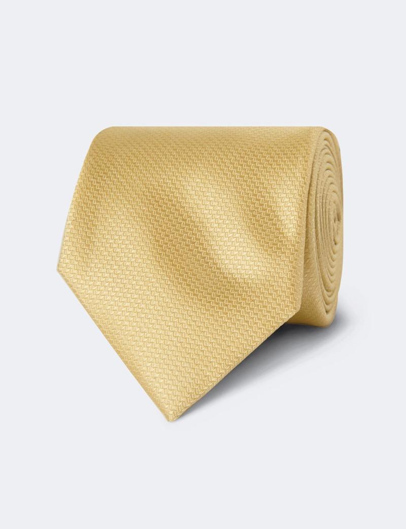 Men's Yellow Basket Weave 100% Silk Tie