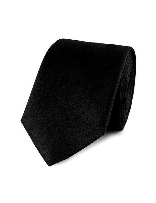 Men's Plain Black 100% Silk Slim Fashion Tie