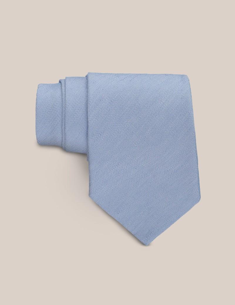 Men's Light Blue Tie - Linen & Silk Blend - Mark Francis Collection