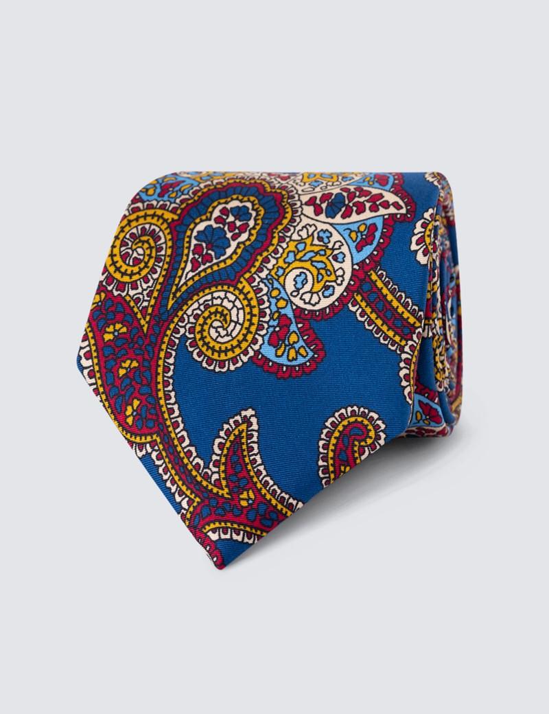 Men's Navy & Red Paisley Print Tie - 100% Silk