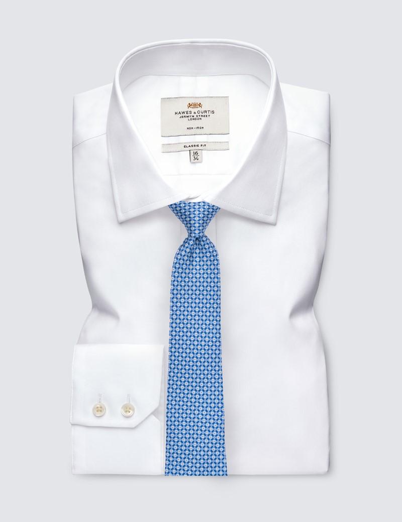 Men's Light Blue Daisy Printed Tie - 100% Silk