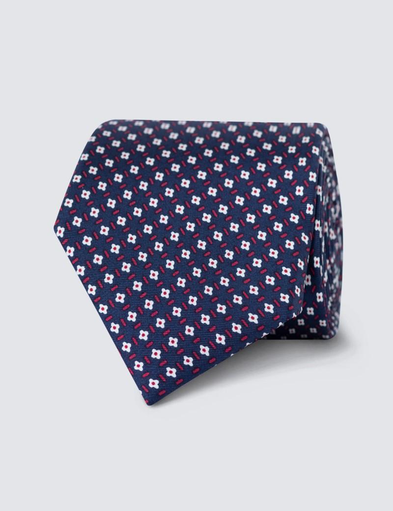 Men's Navy Daisy Printed Tie - 100% Silk